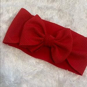 9-12 month girl red bow headband cute